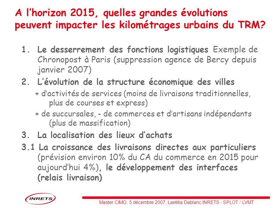Master CIMO, 5 décembre 2007, Laetitia Dablanc INRETS - SPLOT / LVMT 1.Le desserrement des fonctions logistiques Exemple de Chronopost à Paris (suppre