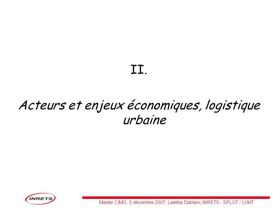 Master CIMO, 5 décembre 2007, Laetitia Dablanc INRETS - SPLOT / LVMT II. Acteurs et enjeux économiques, logistique urbaine