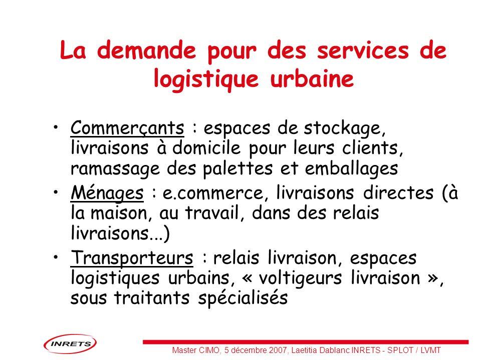 Master CIMO, 5 décembre 2007, Laetitia Dablanc INRETS - SPLOT / LVMT La demande pour des services de logistique urbaine Commerçants : espaces de stock
