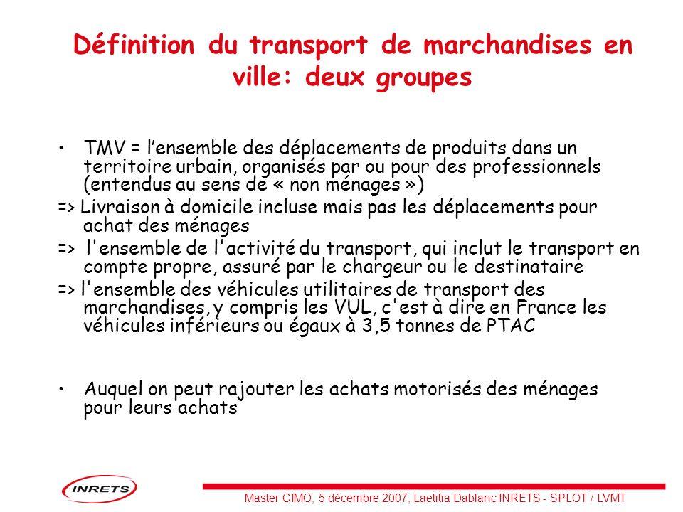 Master CIMO, 5 décembre 2007, Laetitia Dablanc INRETS - SPLOT / LVMT Définition du transport de marchandises en ville: deux groupes TMV = lensemble de