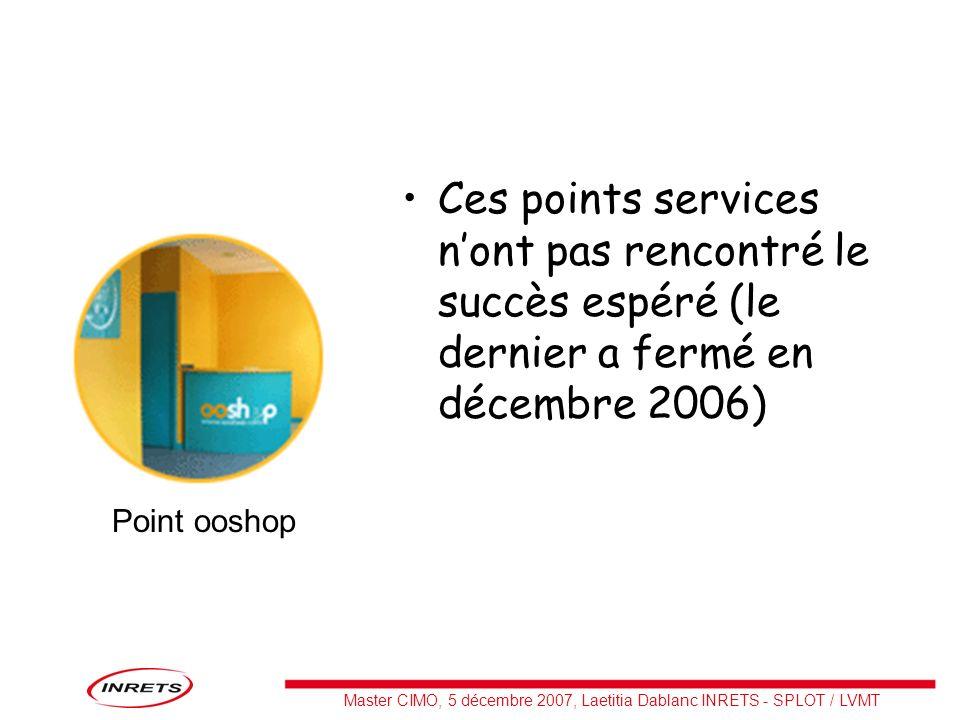 Master CIMO, 5 décembre 2007, Laetitia Dablanc INRETS - SPLOT / LVMT Ces points services nont pas rencontré le succès espéré (le dernier a fermé en dé