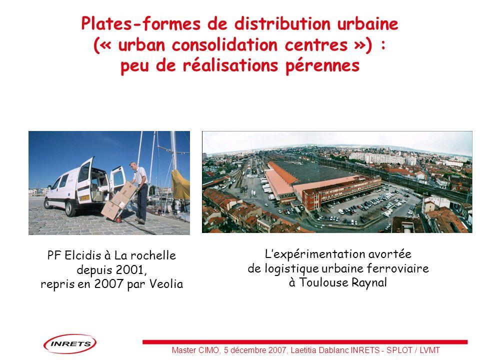 Master CIMO, 5 décembre 2007, Laetitia Dablanc INRETS - SPLOT / LVMT Plates-formes de distribution urbaine (« urban consolidation centres ») : peu de