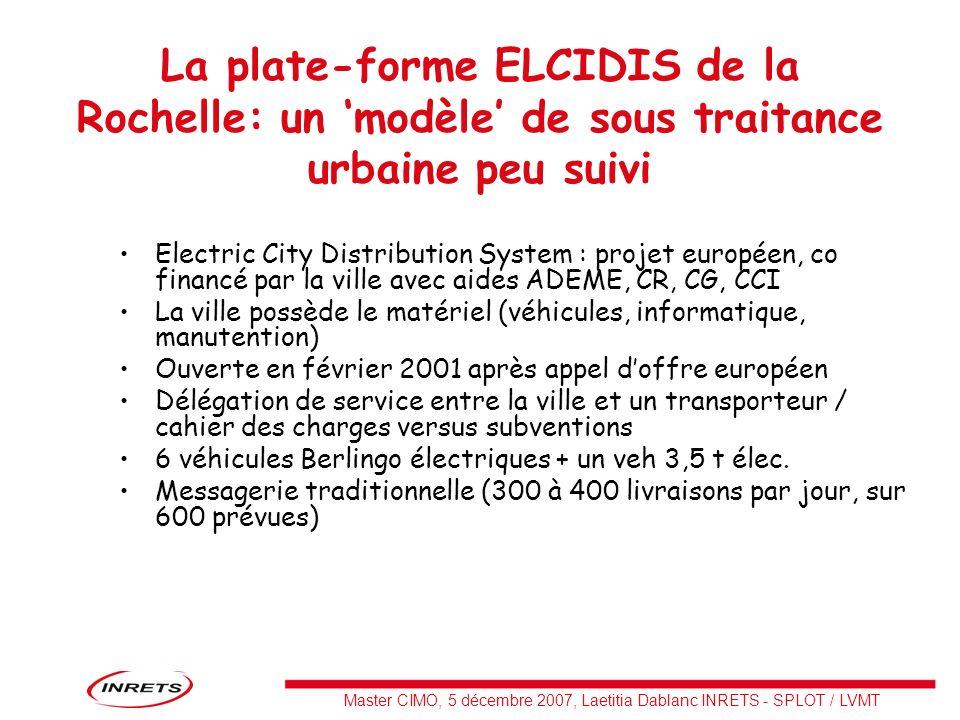 Master CIMO, 5 décembre 2007, Laetitia Dablanc INRETS - SPLOT / LVMT La plate-forme ELCIDIS de la Rochelle: un modèle de sous traitance urbaine peu su