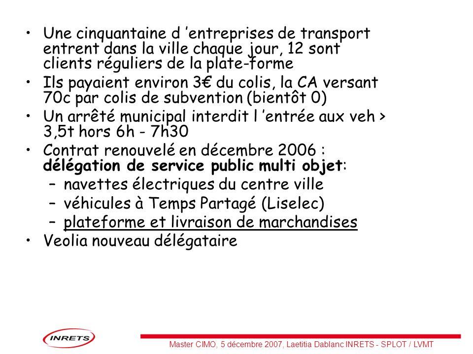Master CIMO, 5 décembre 2007, Laetitia Dablanc INRETS - SPLOT / LVMT Une cinquantaine d entreprises de transport entrent dans la ville chaque jour, 12
