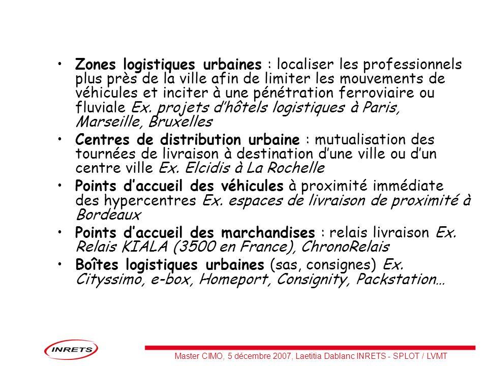 Master CIMO, 5 décembre 2007, Laetitia Dablanc INRETS - SPLOT / LVMT Zones logistiques urbaines : localiser les professionnels plus près de la ville a