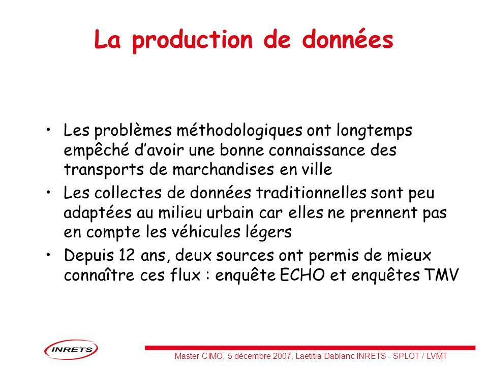 Master CIMO, 5 décembre 2007, Laetitia Dablanc INRETS - SPLOT / LVMT La production de données Les problèmes méthodologiques ont longtemps empêché davo