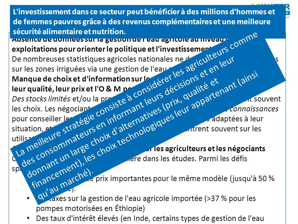 Absence de données sur la gestion de l'eau agricole au niveau des petites exploitations pour orienter le politique et l'investissement. De nombreuses