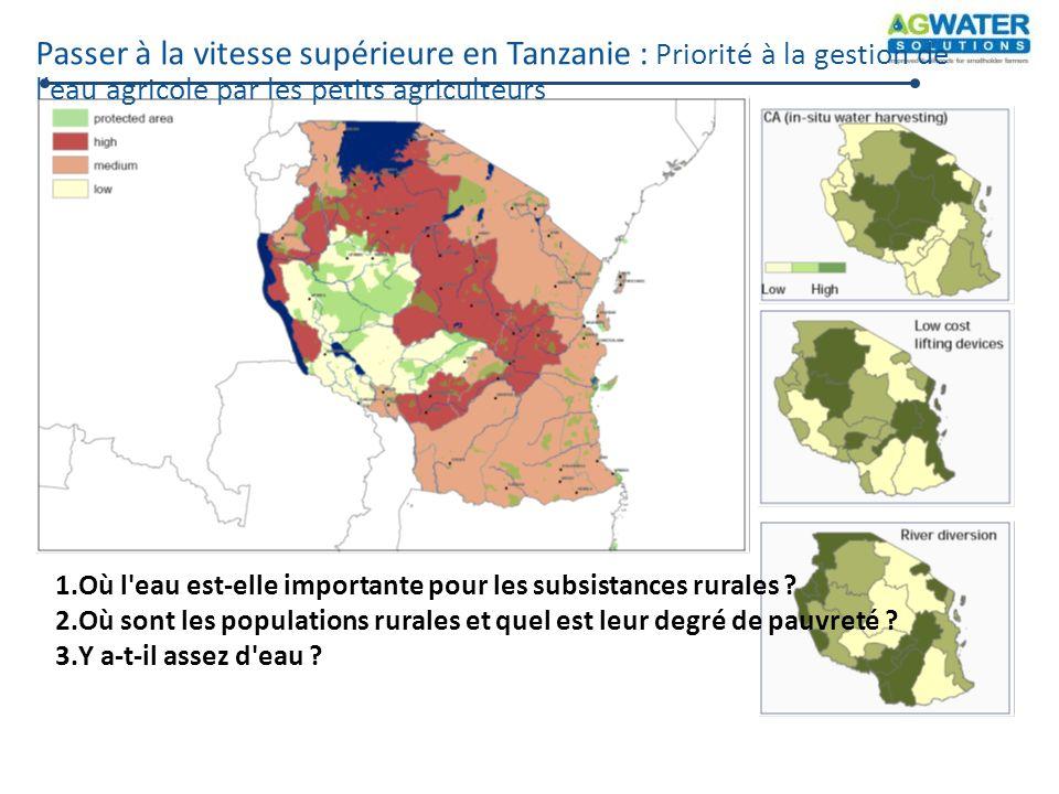 Passer à la vitesse supérieure en Tanzanie : Priorité à la gestion de l'eau agricole par les petits agriculteurs 1.Où l'eau est-elle importante pour l