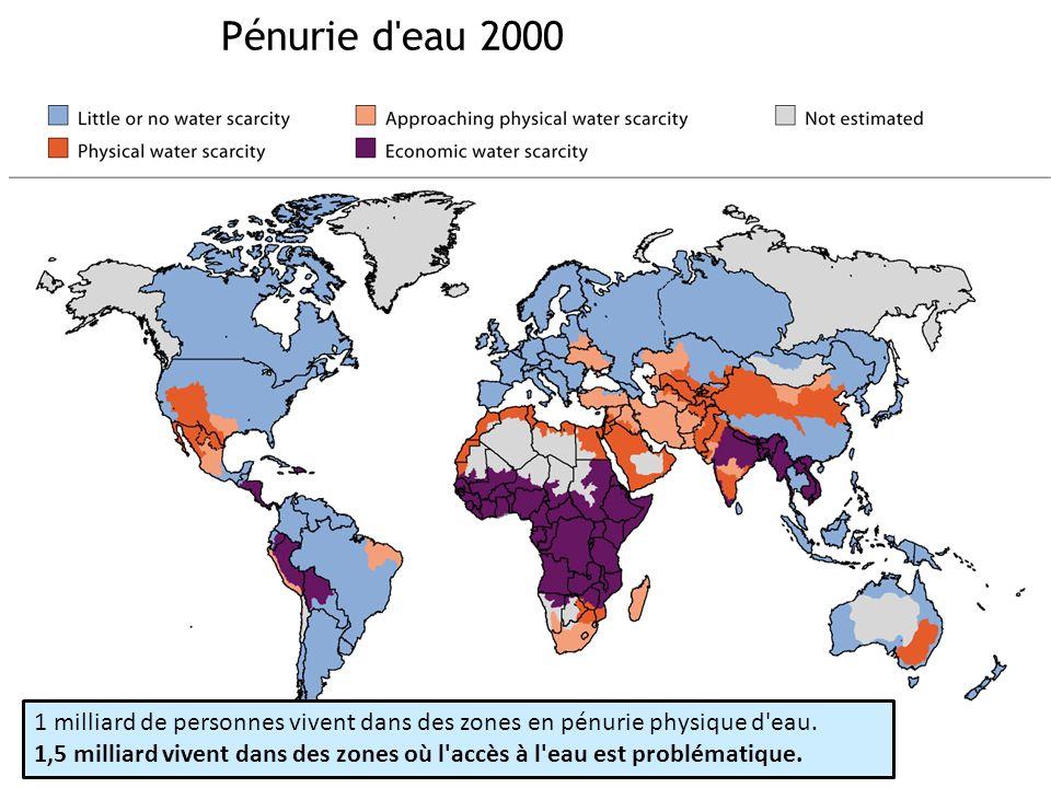 Pénurie d'eau 2000 1 milliard de personnes vivent dans des zones en pénurie physique d'eau. 1,5 milliard vivent dans des zones où l'accès à l'eau est