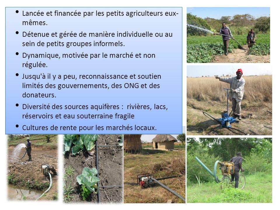 Type – technologie Nbre d agriculteur s Zone irriguée Coût de l investissement en USD par ha Culture principale Systèmes d irrigation publique 11,0007 185 ha10,000 – 15,000Riz Petits réservoirs25,0006 000 ha6,000 – 15,000Riz/légumes Pompes motorisées160,000120 000 ha500-1000Légumes Seaux, arrosoirs335,00066 000 ha<25Légumes Pompes à pédale< 100< 20 ha500Légumes Comparaison des secteurs formel et informel de l irrigation au Ghana Contexte de la gestion de l eau agricole par les petits exploitants Le secteur privé des petites exploitations est en plein essor.