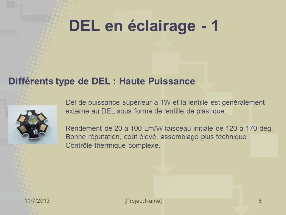11/7/2013[Project Name]6 DEL en éclairage - 1 Différents type de DEL : Haute Puissance Del de puissance supérieur a 1W et la lentille est généralement