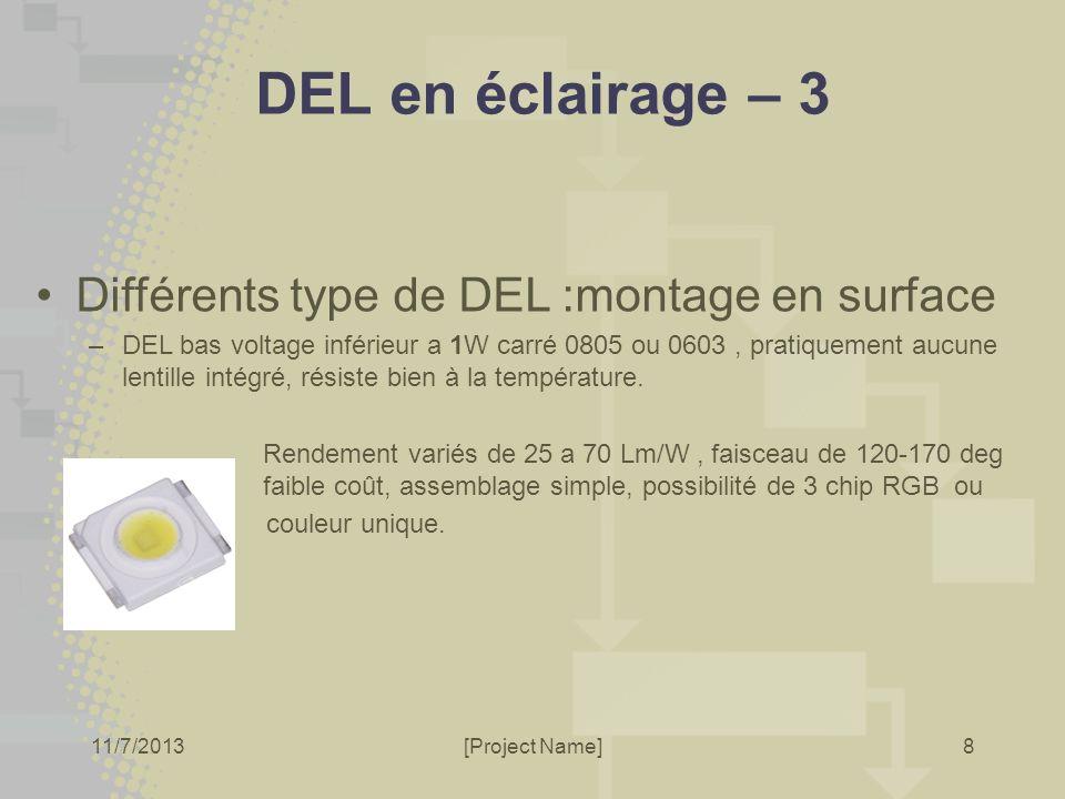 11/7/2013[Project Name]8 DEL en éclairage – 3 Différents type de DEL :montage en surface –DEL bas voltage inférieur a 1W carré 0805 ou 0603, pratiquem