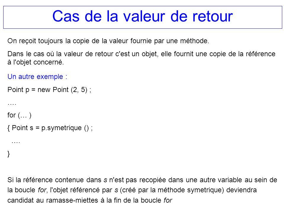 Cas de la valeur de retour On reçoit toujours la copie de la valeur fournie par une méthode. Dans le cas où la valeur de retour c'est un objet, elle f