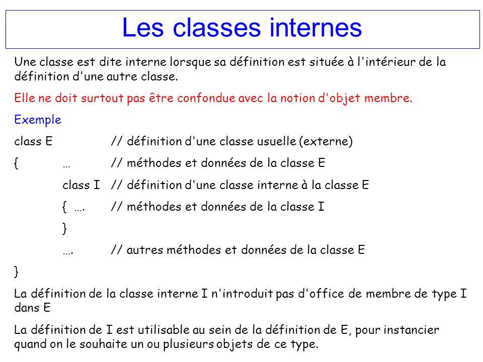 Les classes internes Une classe est dite interne lorsque sa définition est située à l'intérieur de la définition d'une autre classe. Elle ne doit surt