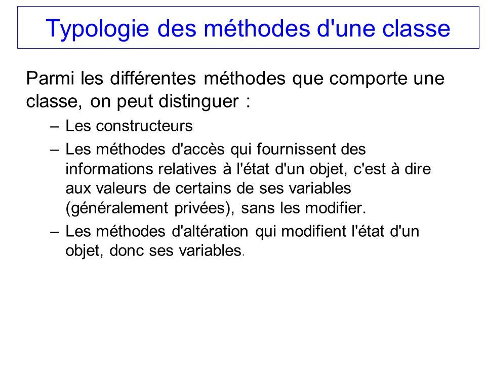 Typologie des méthodes d'une classe Parmi les différentes méthodes que comporte une classe, on peut distinguer : –Les constructeurs –Les méthodes d'ac