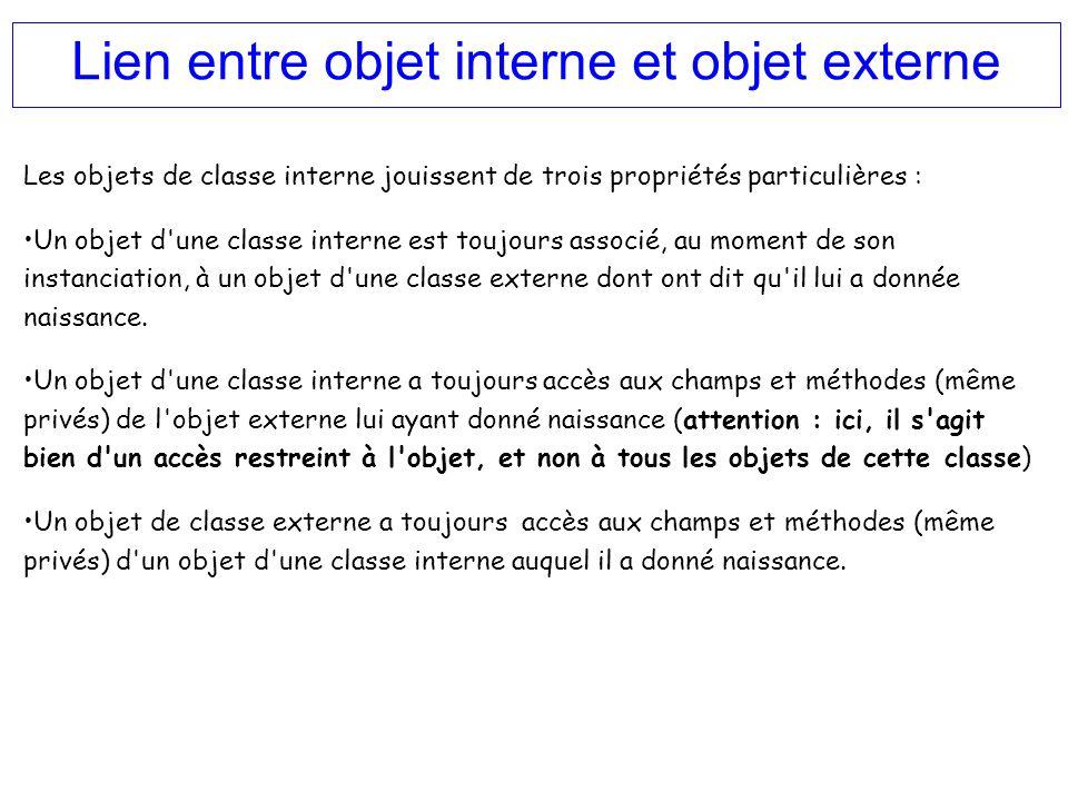 Lien entre objet interne et objet externe Les objets de classe interne jouissent de trois propriétés particulières : Un objet d'une classe interne est