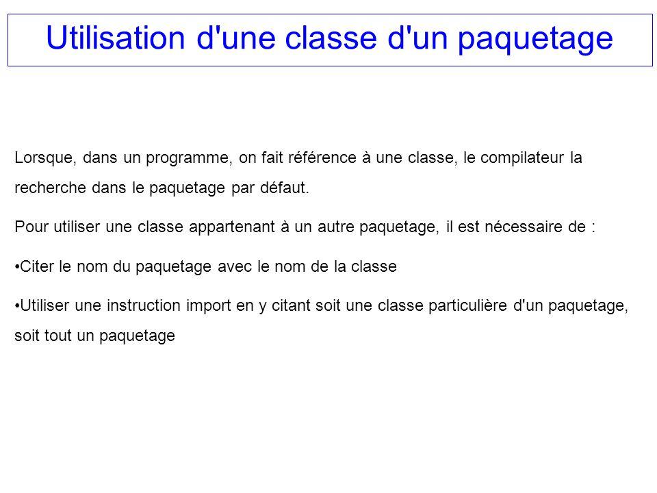Utilisation d'une classe d'un paquetage Lorsque, dans un programme, on fait référence à une classe, le compilateur la recherche dans le paquetage par