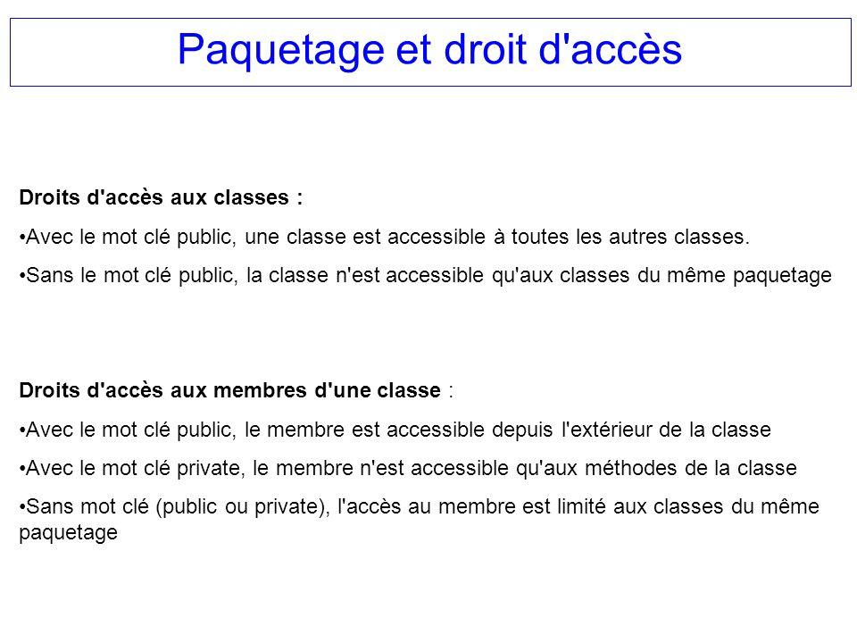 Paquetage et droit d'accès Droits d'accès aux classes : Avec le mot clé public, une classe est accessible à toutes les autres classes. Sans le mot clé