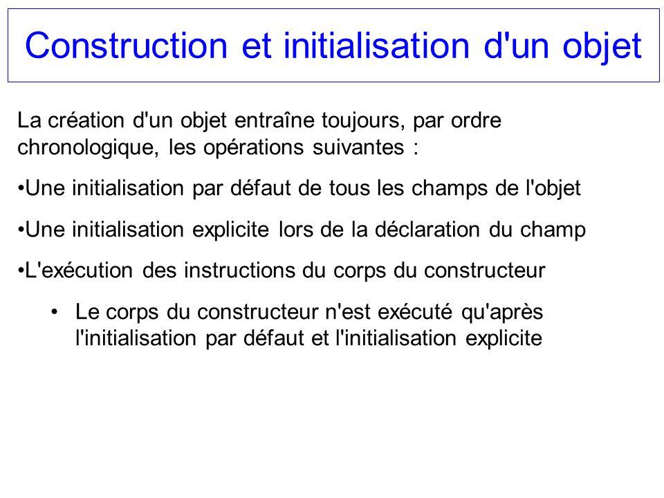 Construction et initialisation d'un objet La création d'un objet entraîne toujours, par ordre chronologique, les opérations suivantes : Une initialisa