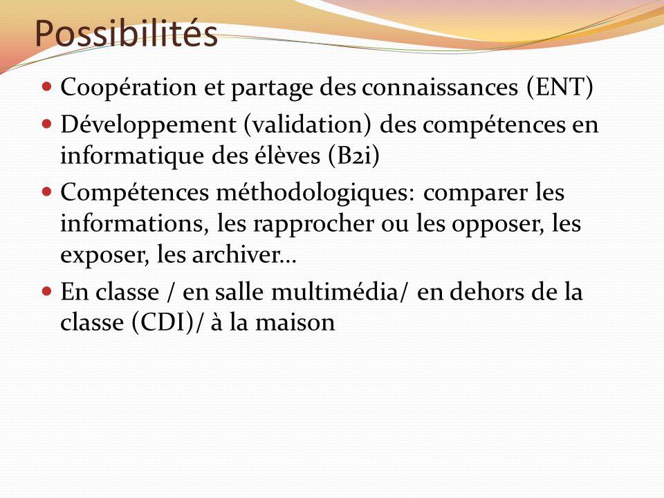 Possibilités Coopération et partage des connaissances (ENT) Développement (validation) des compétences en informatique des élèves (B2i) Compétences mé