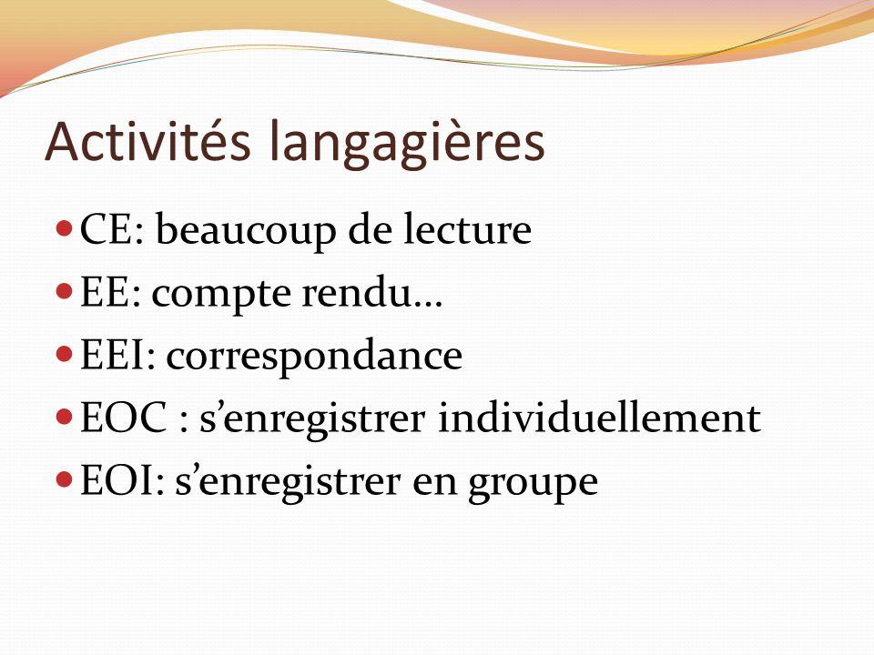 Activités langagières CE: beaucoup de lecture EE: compte rendu… EEI: correspondance EOC : senregistrer individuellement EOI: senregistrer en groupe