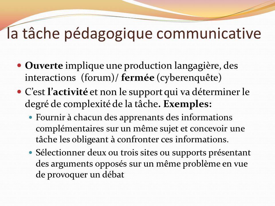 la tâche pédagogique communicative Ouverte implique une production langagière, des interactions (forum)/ fermée (cyberenquête) Cest lactivité et non l