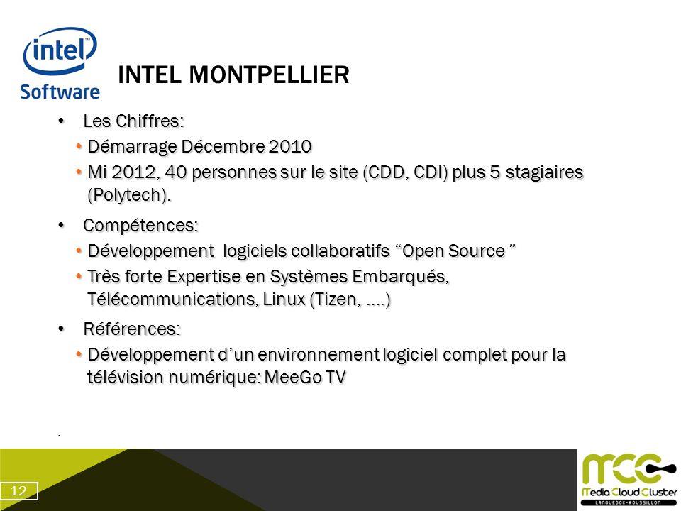 INTEL MONTPELLIER Les Chiffres: Les Chiffres: Démarrage Décembre 2010 Démarrage Décembre 2010 Mi 2012, 40 personnes sur le site (CDD, CDI) plus 5 stag
