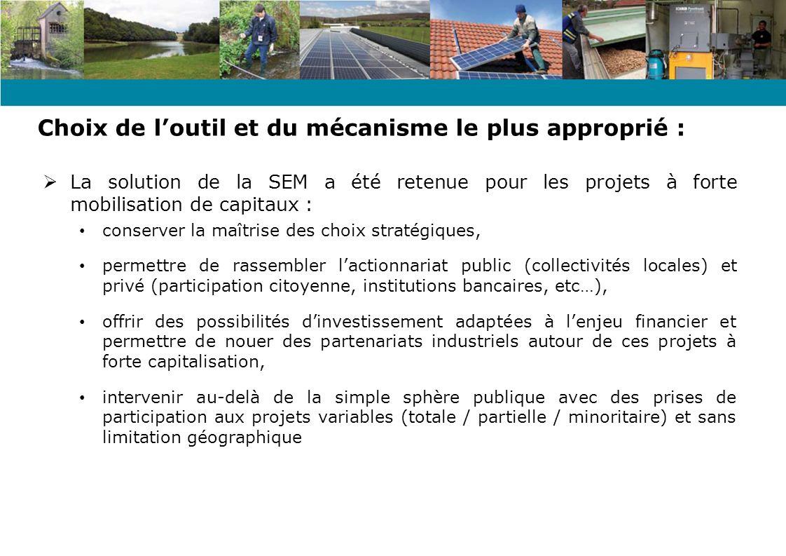 Objet social : Acquisition, aménagement, exploitation de moyens de production décentralisés délectricité notamment à partir dénergies dorigine renouvelable Promouvoir des actions de maîtrise de la demande dénergie, defficacité énergétique (fléchage des bénéfices distribuables) Intervention des collectivités locales prévue par les articles suivants : L 2224-32 et L 2224-33 du CGCT Projet de création de la SEM ENERGIES NIEVRE (SAEML)