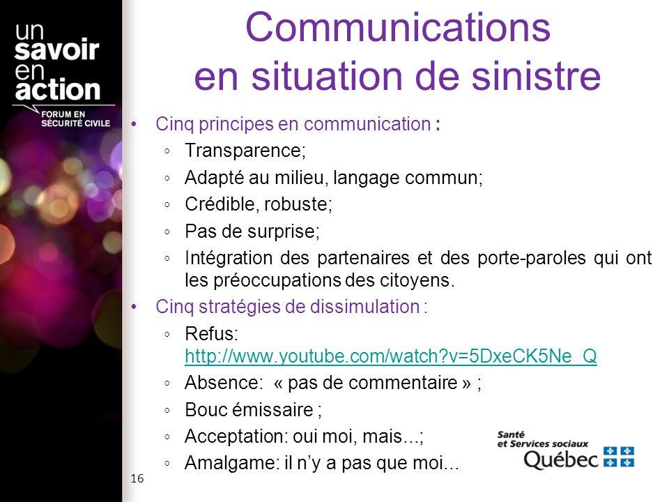 Cinq principes en communication : Transparence; Adapté au milieu, langage commun; Crédible, robuste; Pas de surprise; Intégration des partenaires et d