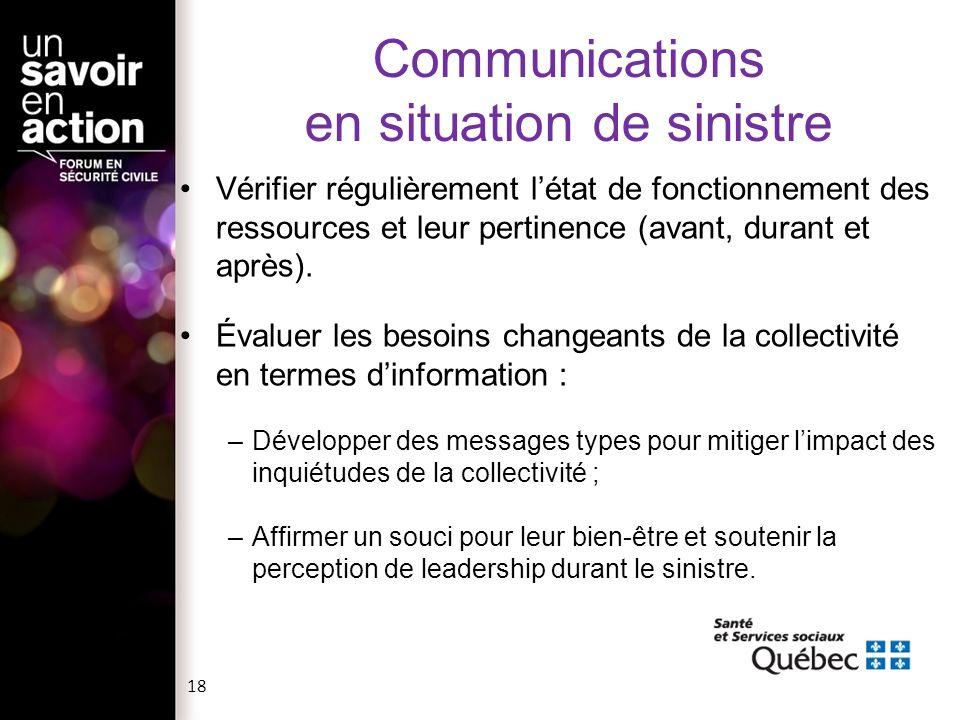 Communications en situation de sinistre Vérifier régulièrement létat de fonctionnement des ressources et leur pertinence (avant, durant et après). Éva