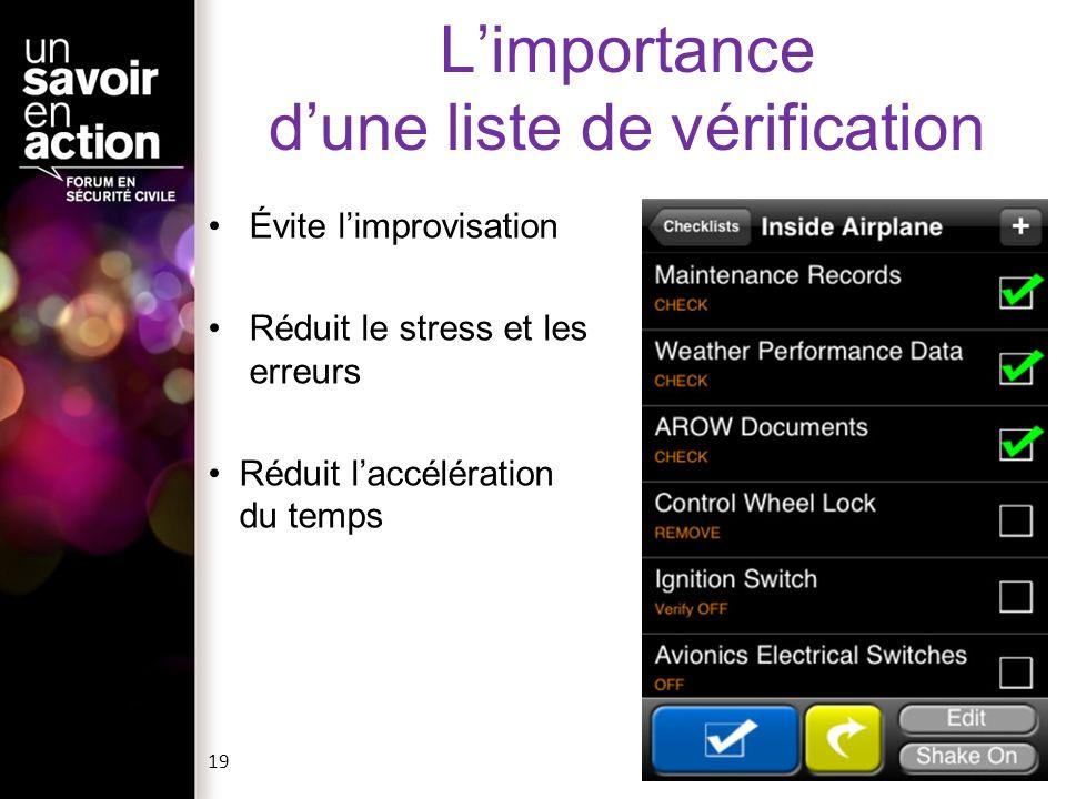 Limportance dune liste de vérification Évite limprovisation Réduit le stress et les erreurs Réduit laccélération du temps 19