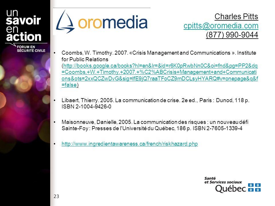 Charles Pitts cpitts@oromedia.com (877) 990-9044 cpitts@oromedia.com Coombs, W.