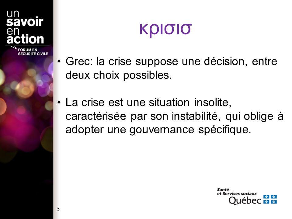 κρισισ Grec: la crise suppose une décision, entre deux choix possibles. La crise est une situation insolite, caractérisée par son instabilité, qui obl