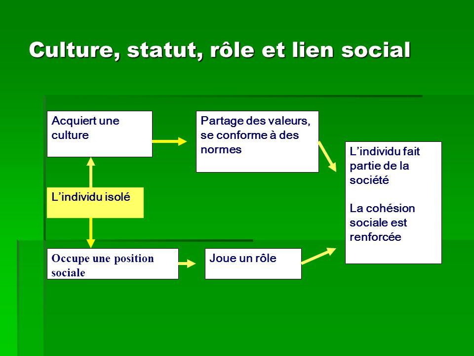 Culture, statut, rôle et lien social Lindividu isolé Acquiert une culture Partage des valeurs, se conforme à des normes Occupe une position sociale Jo