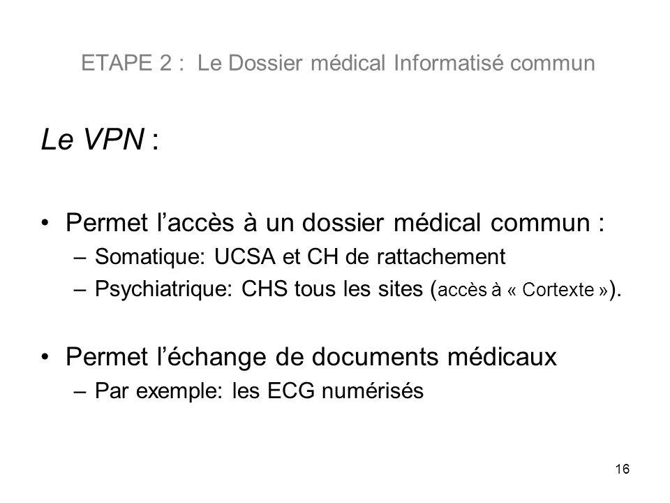 ETAPE 2 : Le Dossier médical Informatisé commun Le VPN : Permet laccès à un dossier médical commun : –Somatique: UCSA et CH de rattachement –Psychiatr