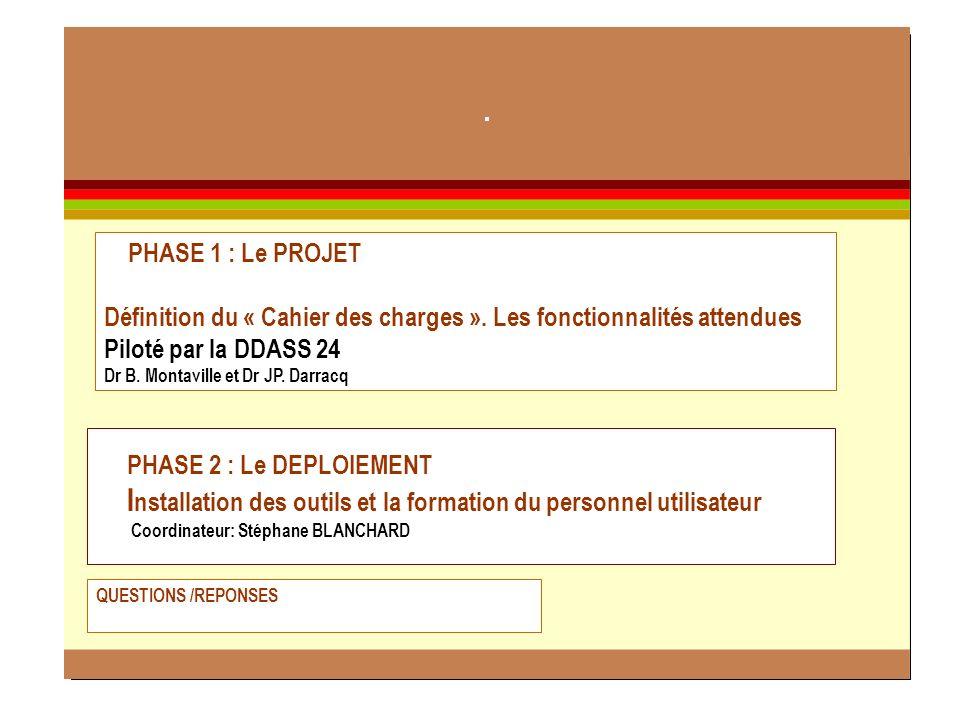 2 PHASE 2 : Le DEPLOIEMENT I nstallation des outils et la formation du personnel utilisateur Coordinateur: Stéphane BLANCHARD PHASE 1 : Le PROJET Défi