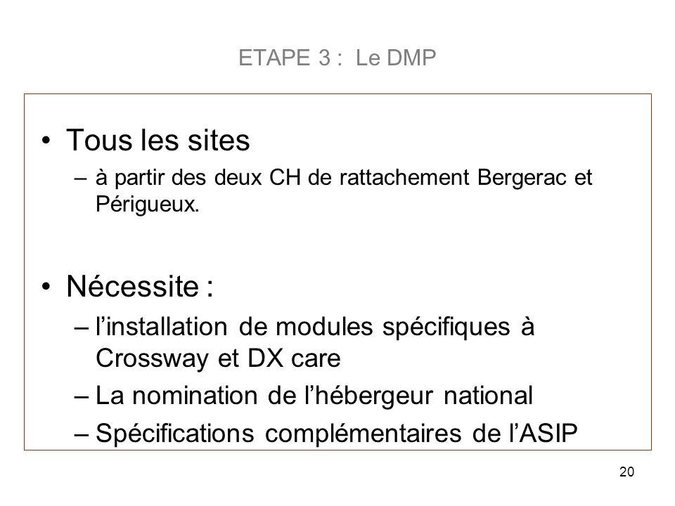 ETAPE 3 : Le DMP Tous les sites –à partir des deux CH de rattachement Bergerac et Périgueux. Nécessite : –linstallation de modules spécifiques à Cross