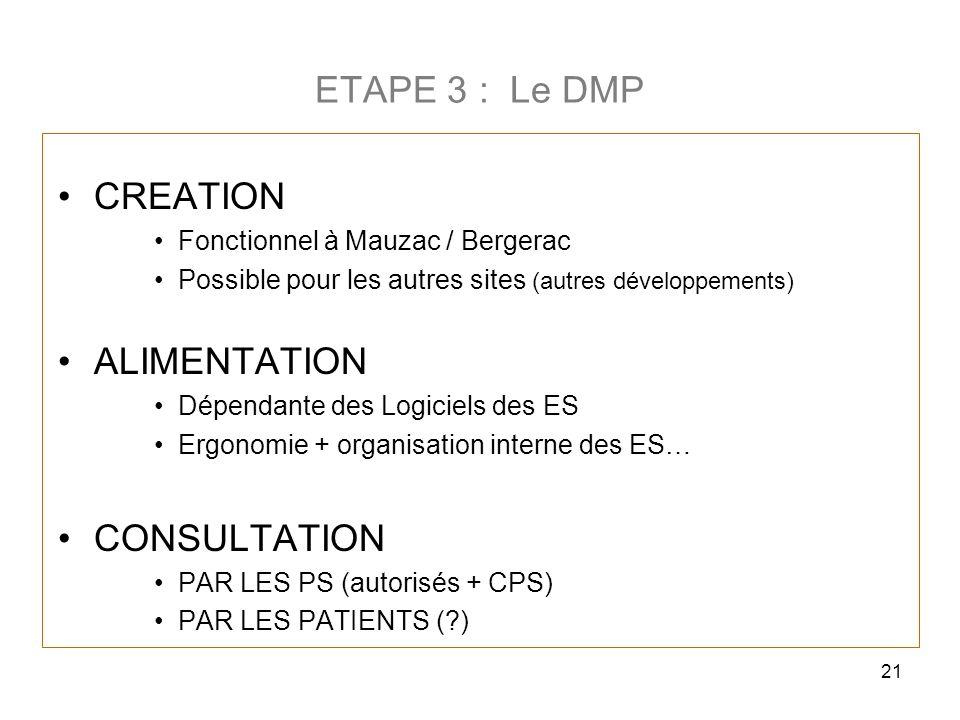 21 ETAPE 3 : Le DMP CREATION Fonctionnel à Mauzac / Bergerac Possible pour les autres sites (autres développements) ALIMENTATION Dépendante des Logici