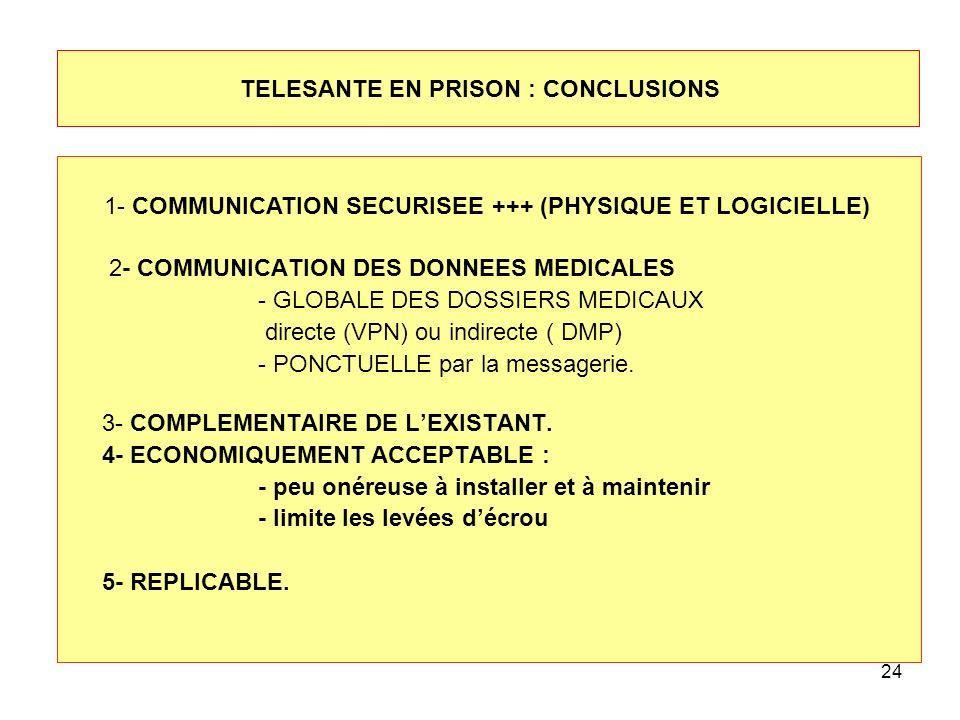 24 TELESANTE EN PRISON : CONCLUSIONS 2- COMMUNICATION DES DONNEES MEDICALES - GLOBALE DES DOSSIERS MEDICAUX directe (VPN) ou indirecte ( DMP) - PONCTU