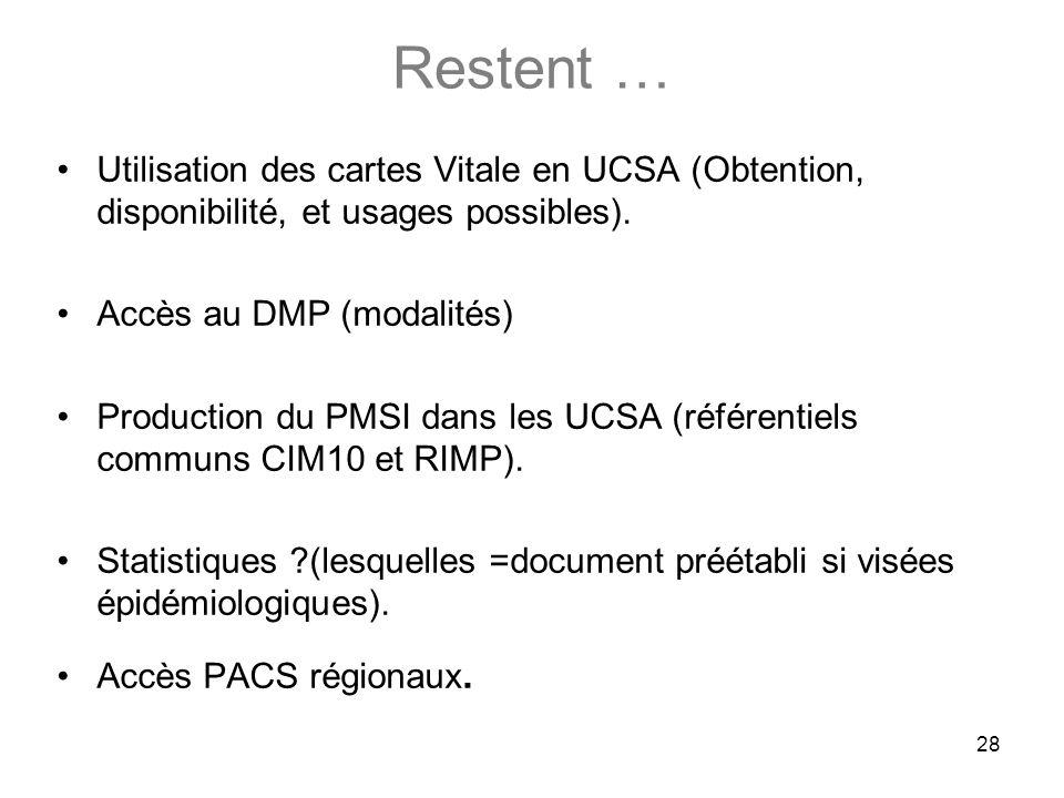 28 Restent … Utilisation des cartes Vitale en UCSA (Obtention, disponibilité, et usages possibles). Accès au DMP (modalités) Production du PMSI dans l