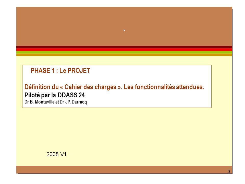 3 PHASE 1 : Le PROJET Définition du « Cahier des charges ». Les fonctionnalités attendues. Piloté par la DDASS 24 Dr B. Montaville et Dr JP. Darracq 3