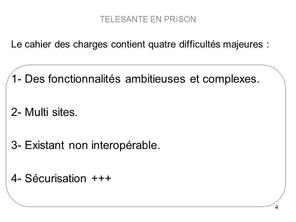 4 TELESANTE EN PRISON Le cahier des charges contient quatre difficultés majeures : 1- Des fonctionnalités ambitieuses et complexes. 2- Multi sites. 3-