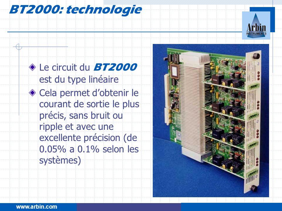 www.arbin.com BT2000: technologie Le circuit du BT2000 est du type linéaire Cela permet dobtenir le courant de sortie le plus précis, sans bruit ou ri