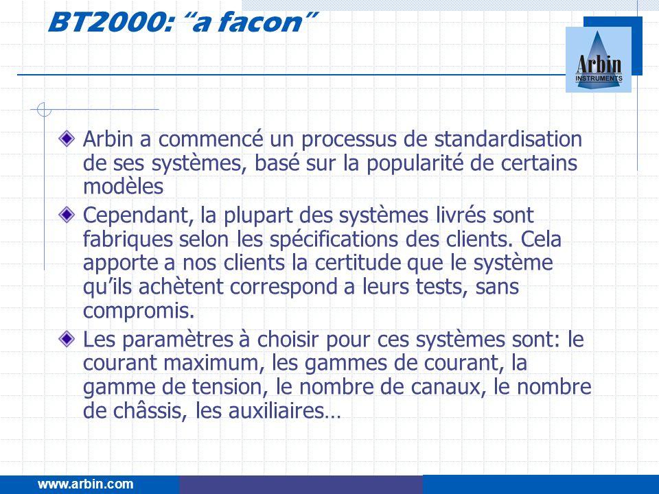 www.arbin.com BT2000: a facon Arbin a commencé un processus de standardisation de ses systèmes, basé sur la popularité de certains modèles Cependant,