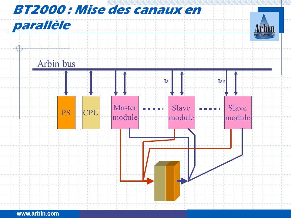 www.arbin.com Master module Arbin bus Is1Isn CPUPS Slave module Slave module BT2000 : Mise des canaux en parallèle