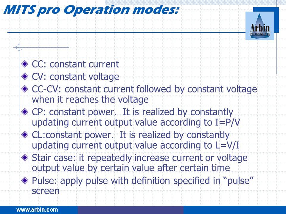 CC: constant current CV: constant voltage CC-CV: constant current followed by constant voltage when it reaches the voltage CP: constant power. It is r