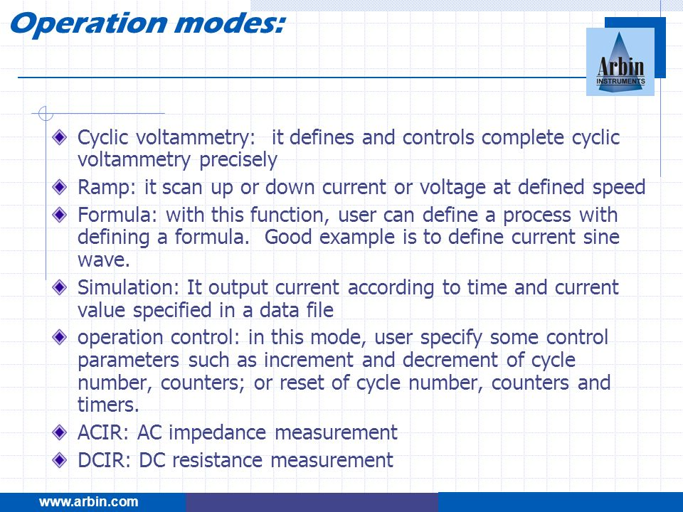 Cyclic voltammetry: it defines and controls complete cyclic voltammetry precisely Ramp: it scan up or down current or voltage at defined speed Formula