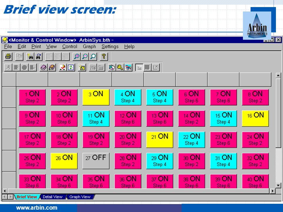 www.arbin.com Brief view screen: