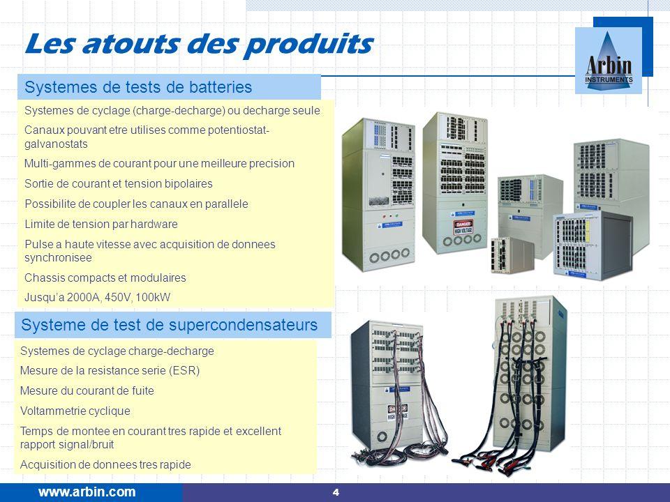 www.arbin.com Les atouts des produits Systemes de tests de batteries Systeme de test de supercondensateurs Systemes de cyclage (charge-decharge) ou de