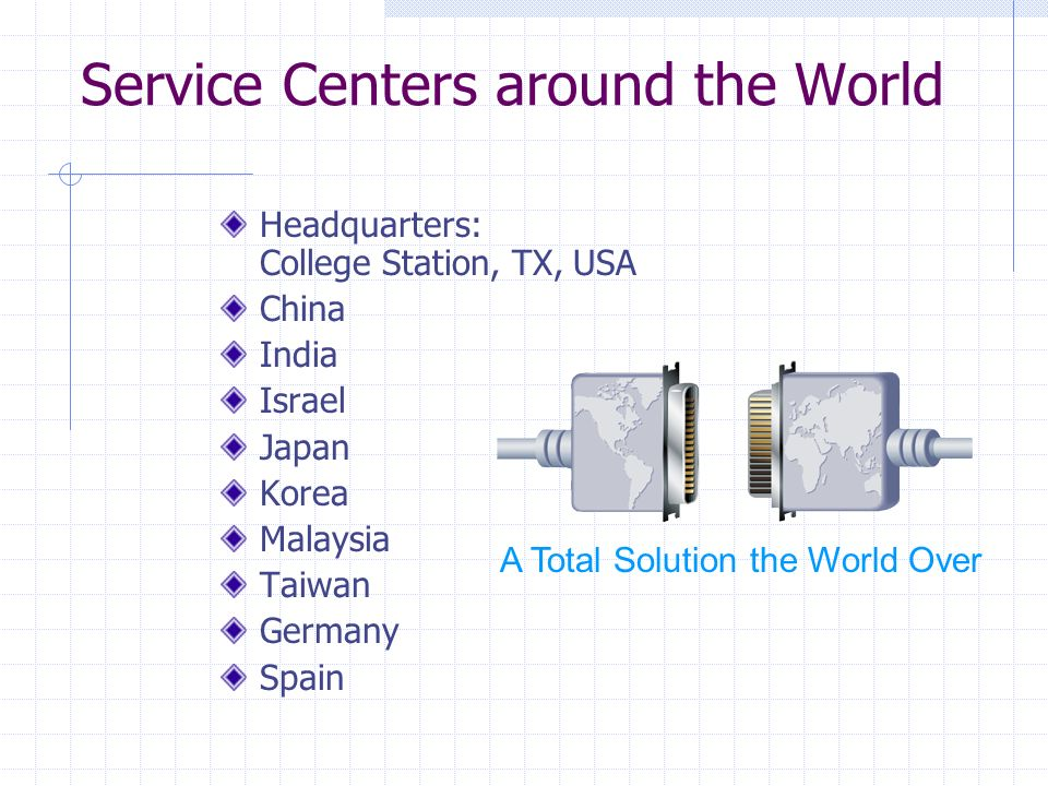 Service Centers around the World Headquarters: College Station, TX, USA China India Israel Japan Korea Malaysia Taiwan Germany Spain A Total Solution